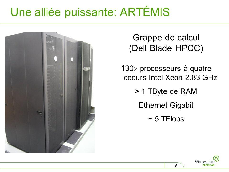 8 Une alliée puissante: ARTÉMIS Grappe de calcul (Dell Blade HPCC) 130 processeurs à quatre coeurs Intel Xeon 2.83 GHz > 1 TByte de RAM Ethernet Gigab