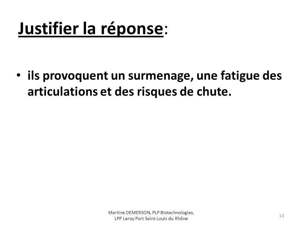 Justifier la réponse: ils provoquent un surmenage, une fatigue des articulations et des risques de chute. Martine DEMERSON, PLP Biotechnologies, LPP L