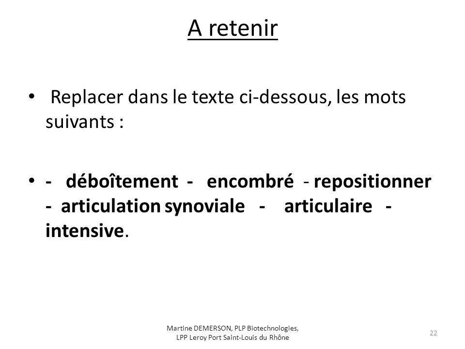 A retenir Replacer dans le texte ci-dessous, les mots suivants : - déboîtement - encombré - repositionner - articulation synoviale - articulaire - int