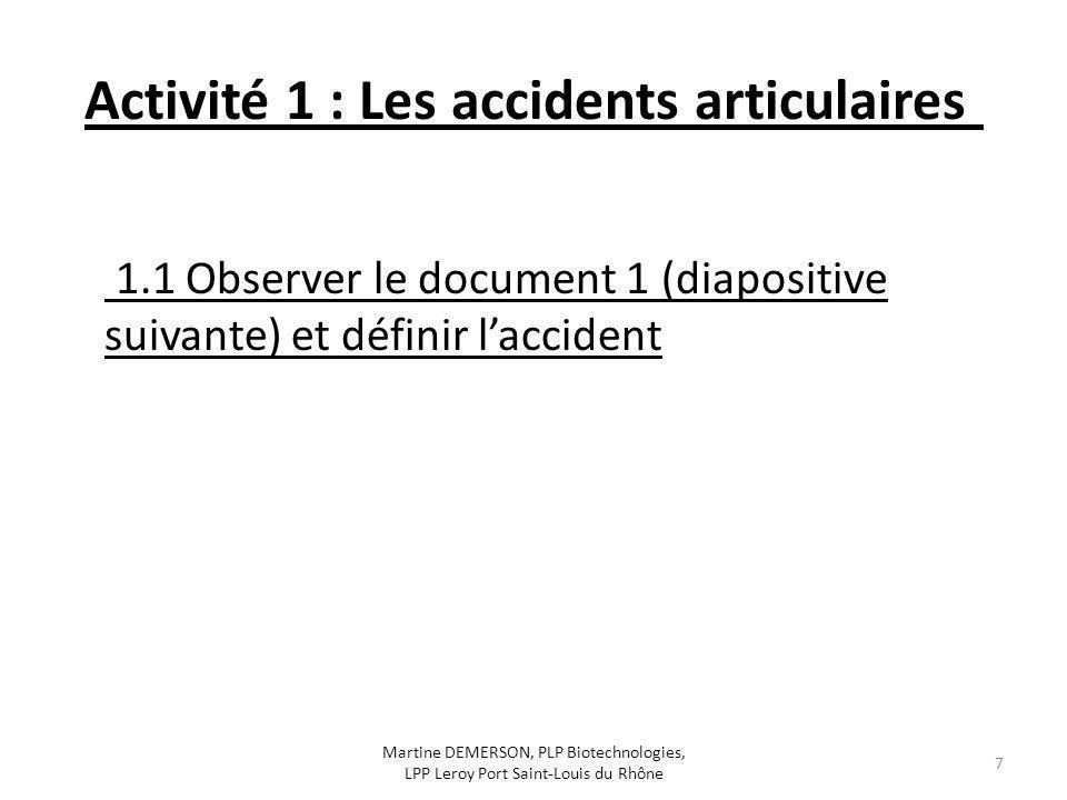 Activité 1 : Les accidents articulaires 1.1 Observer le document 1 (diapositive suivante) et définir laccident Martine DEMERSON, PLP Biotechnologies,