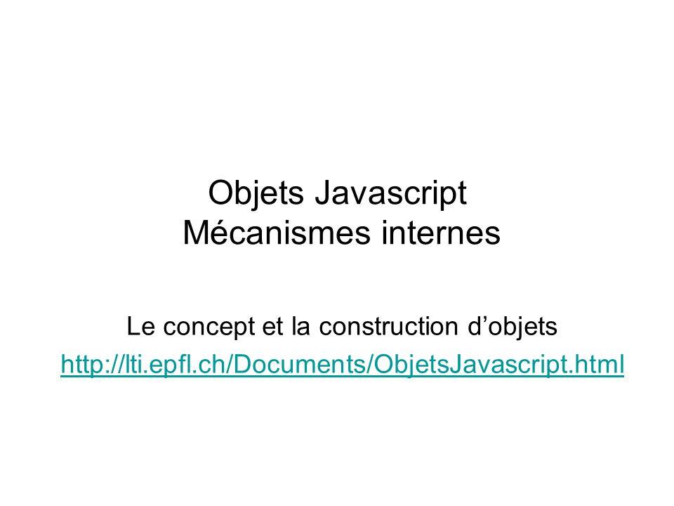 Objets Javascript Mécanismes internes Le concept et la construction dobjets http://lti.epfl.ch/Documents/ObjetsJavascript.html