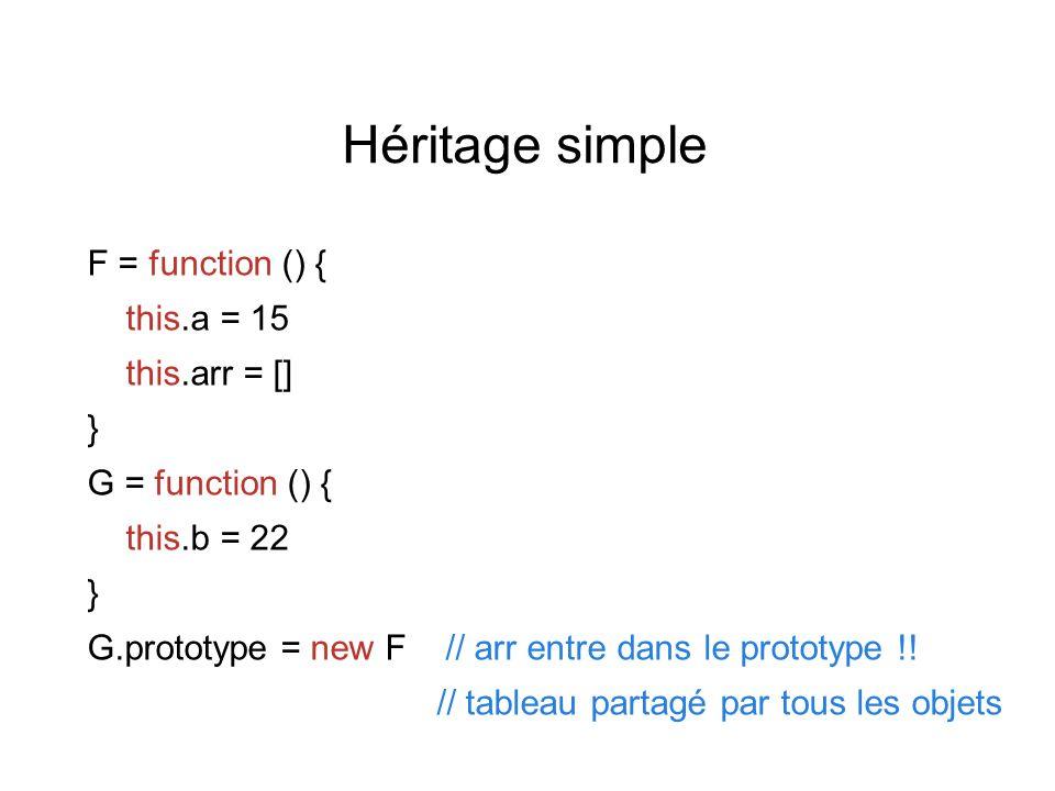 Tableau dans un prototype F = function () { } F.prototype.arr = [] x = new F x.arr[0] = 12 // tous les objets voient la nouvelle valeur y = new F alert(y.arr[0])