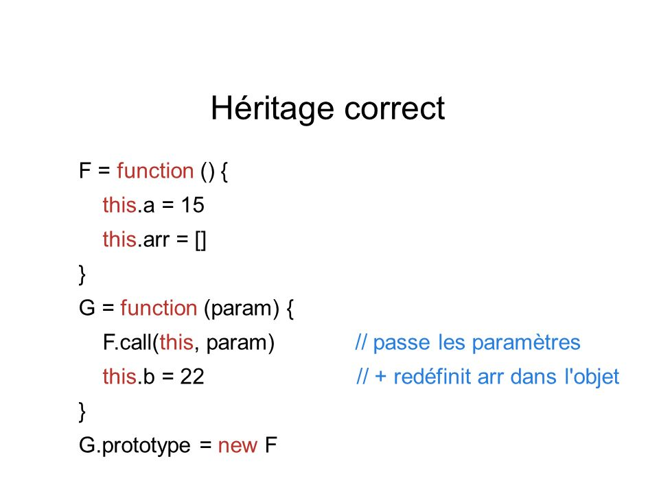 G = function ( ) { this.b = 5 } G.prototype = new F G.prototype.constructor = G G.constructor Function() { } G.prototype object F G.prototype.constructor F() { } G() { } F = function ( ) {...