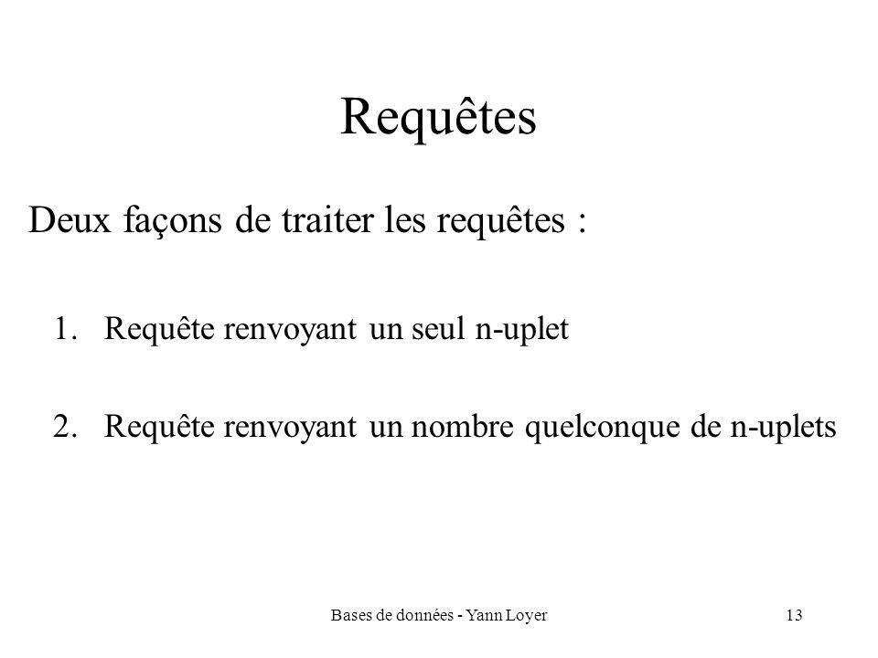 Bases de données - Yann Loyer13 Requêtes Deux façons de traiter les requêtes : 1.Requête renvoyant un seul n-uplet 2.Requête renvoyant un nombre quelconque de n-uplets