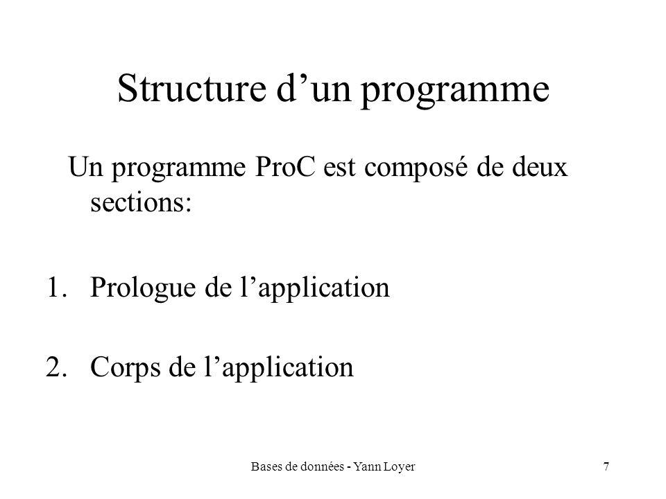 Bases de données - Yann Loyer7 Structure dun programme Un programme ProC est composé de deux sections: 1.Prologue de lapplication 2.Corps de lapplication