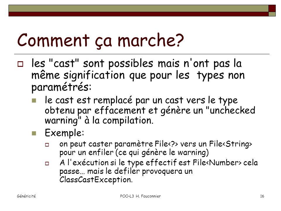 GénéricitéPOO-L3 H. Fauconnier16 Comment ça marche.