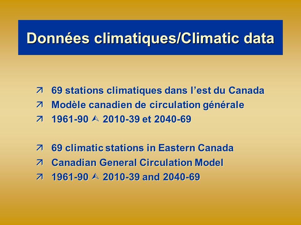 Données climatiques/Climatic data ä69 stations climatiques dans lest du Canada äModèle canadien de circulation générale ä1961-90 2010-39 et 2040-69 ä69 climatic stations in Eastern Canada äCanadian General Circulation Model ä1961-90 2010-39 and 2040-69 ä69 stations climatiques dans lest du Canada äModèle canadien de circulation générale ä1961-90 2010-39 et 2040-69 ä69 climatic stations in Eastern Canada äCanadian General Circulation Model ä1961-90 2010-39 and 2040-69