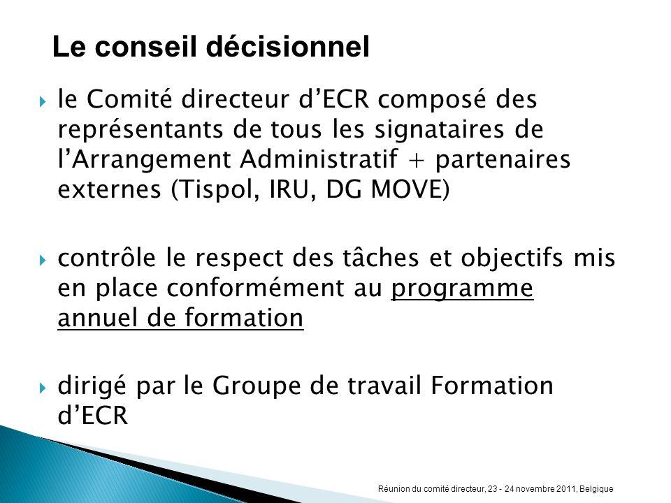 le Comité directeur dECR composé des représentants de tous les signataires de lArrangement Administratif + partenaires externes (Tispol, IRU, DG MOVE)