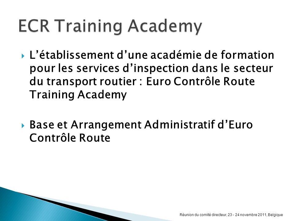 Létablissement dune académie de formation pour les services dinspection dans le secteur du transport routier : Euro Contrôle Route Training Academy Ba