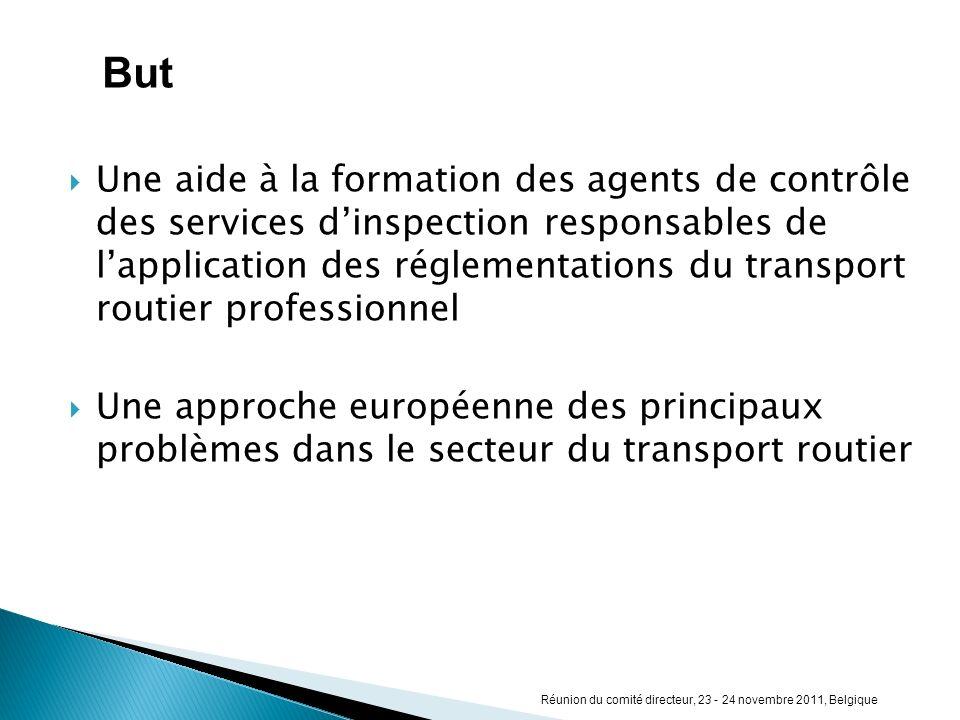 Une aide à la formation des agents de contrôle des services dinspection responsables de lapplication des réglementations du transport routier professi