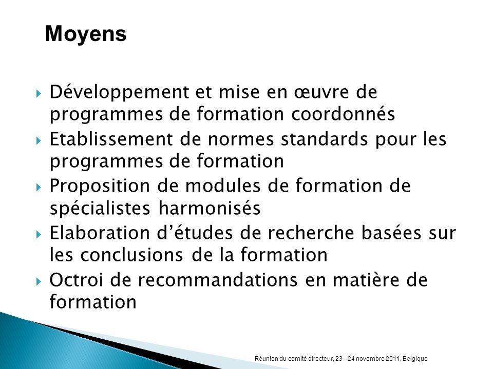 Développement et mise en œuvre de programmes de formation coordonnés Etablissement de normes standards pour les programmes de formation Proposition de