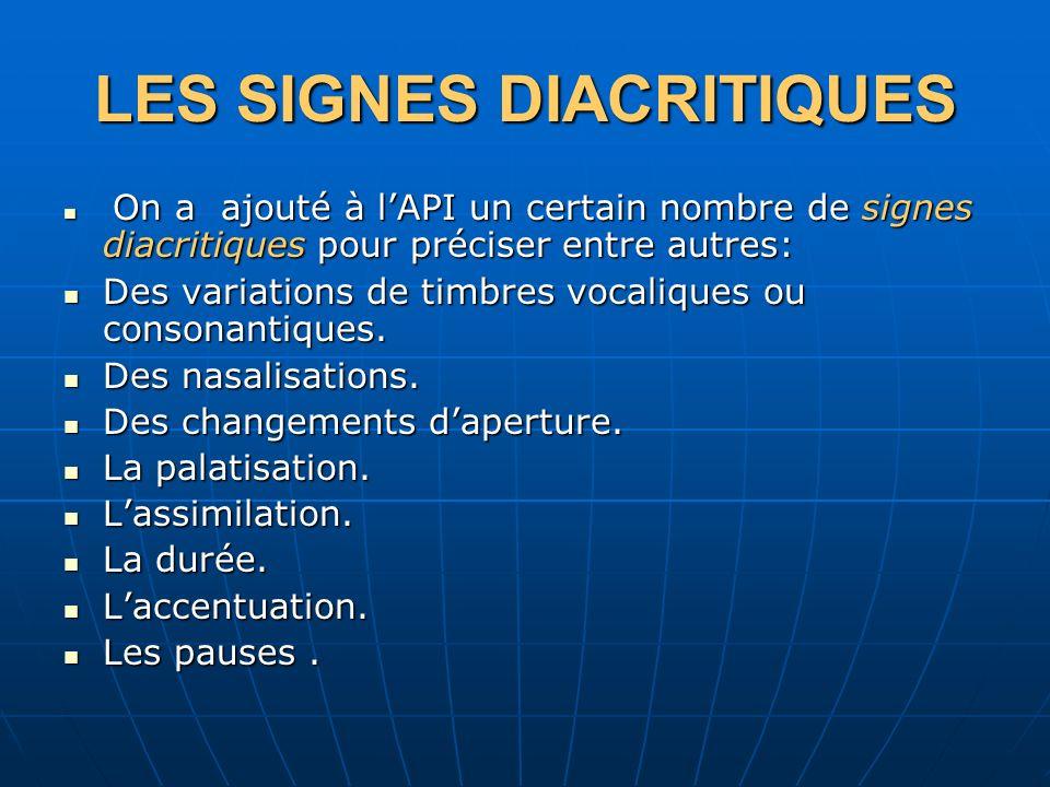 LES SIGNES DIACRITIQUES On a ajouté à lAPI un certain nombre de signes diacritiques pour préciser entre autres: On a ajouté à lAPI un certain nombre d