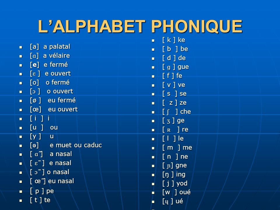 LALPHABET PHONIQUE [a] a palatal [a] a palatal [ ɑ ] a vélaire [ ɑ ] a vélaire [e] e fermé [e] e fermé [ ɛ ] e ouvert [ ɛ ] e ouvert [o] o fermé [o] o