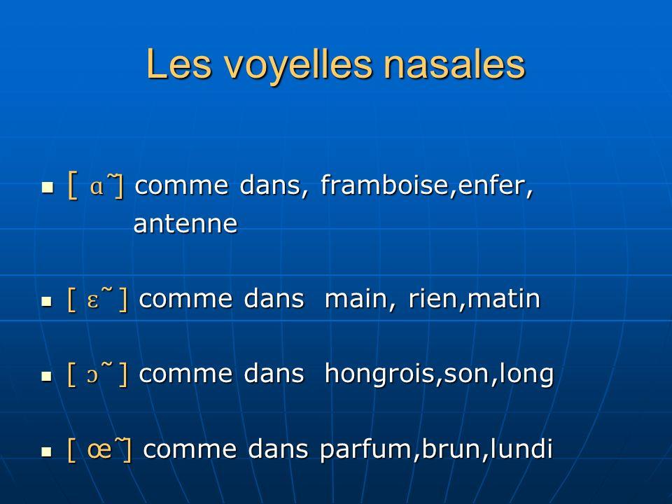 Les voyelles nasales [ ɑ ̃ ] comme dans, framboise,enfer, [ ɑ ̃ ] comme dans, framboise,enfer, antenne antenne [ ɛ ̃ ] comme dans main, rien,matin [ ɛ