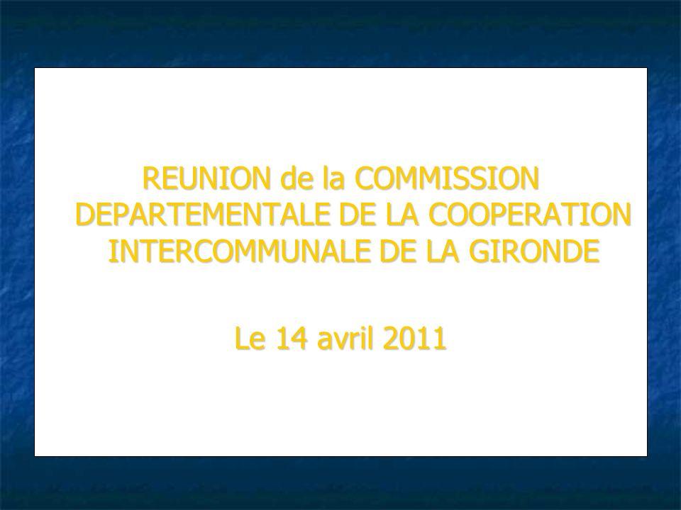Ordre du Jour 1 - Installation de la Commission 2 - Élections du Rapporteur Général et des deux assesseurs 3 - Élections des membres de la formation restreinte 4 - Adoption du règlement intérieur 5 - Projet de schéma départemental de la coopération intercommunale de la Gironde – Propositions de lÉtat