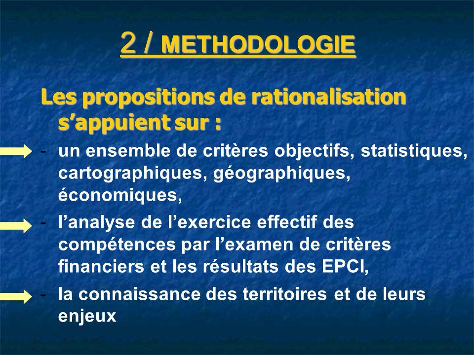 2 / METHODOLOGIE Les propositions de rationalisation sappuient sur : - -un ensemble de critères objectifs, statistiques, cartographiques, géographiques, économiques, - -lanalyse de lexercice effectif des compétences par lexamen de critères financiers et les résultats des EPCI, - -la connaissance des territoires et de leurs enjeux