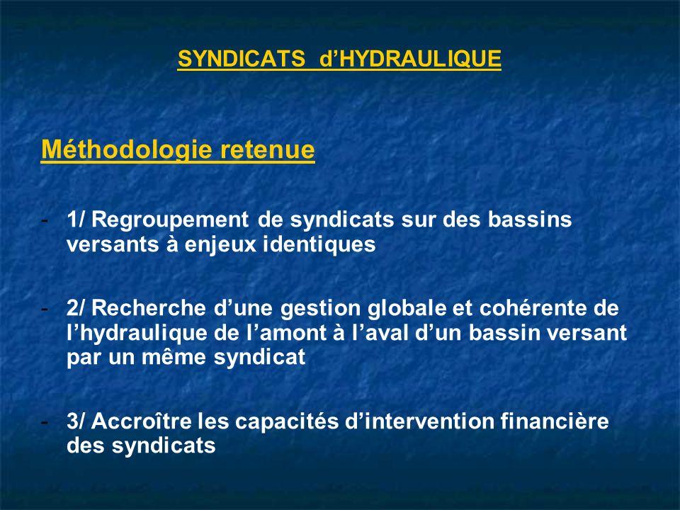 Méthodologie retenue - -1/ Regroupement de syndicats sur des bassins versants à enjeux identiques - -2/ Recherche dune gestion globale et cohérente de lhydraulique de lamont à laval dun bassin versant par un même syndicat - -3/ Accroître les capacités dintervention financière des syndicats SYNDICATS dHYDRAULIQUE