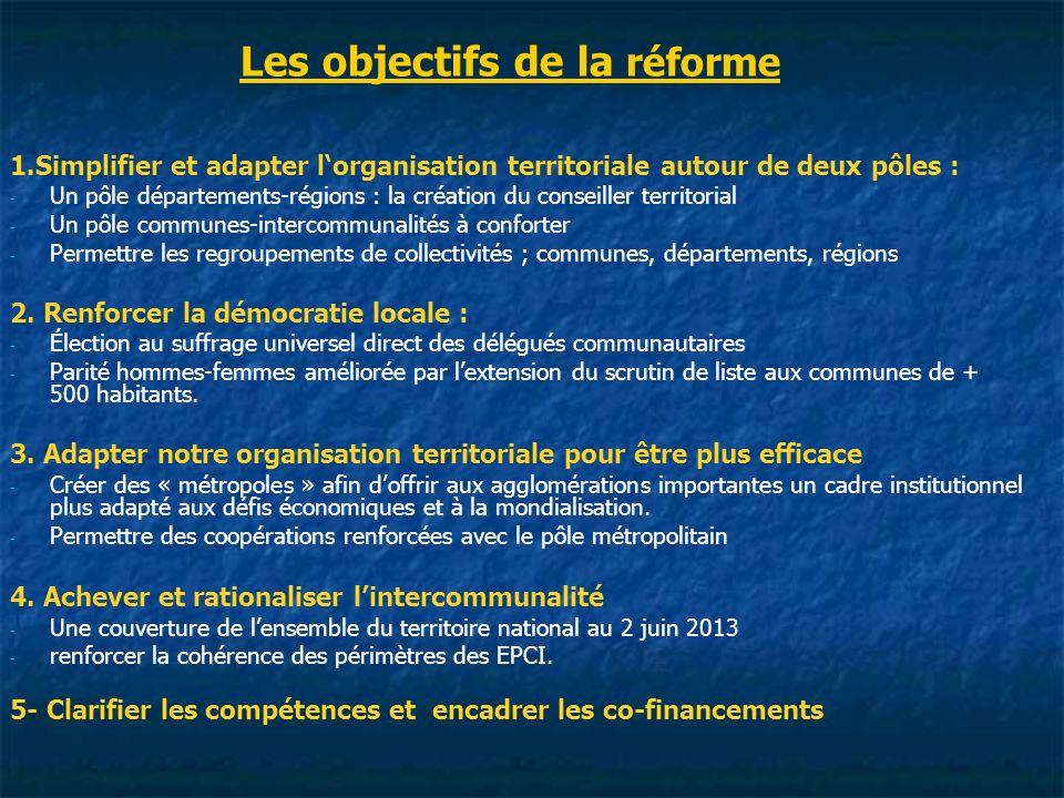 Les objectifs de la réforme 1.Simplifier et adapter lorganisation territoriale autour de deux pôles : - - Un pôle départements-régions : la création du conseiller territorial - - Un pôle communes-intercommunalités à conforter - - Permettre les regroupements de collectivités ; communes, départements, régions 2.