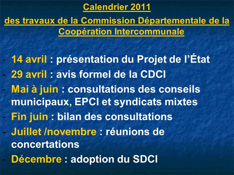 Calendrier 2011 des travaux de la Commission Départementale de la Coopération Intercommunale - -14 avril : présentation du Projet de lÉtat - -29 avril : avis formel de la CDCI - -Mai à juin : consultations des conseils municipaux, EPCI et syndicats mixtes - -Fin juin : bilan des consultations - -Juillet /novembre : réunions de concertations - -Décembre : adoption du SDCI