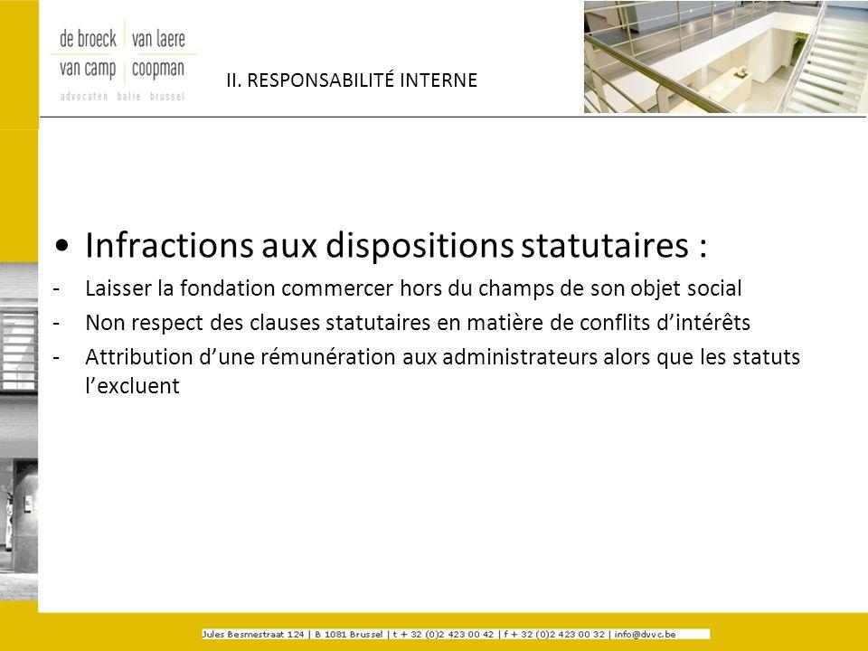 II. RESPONSABILITÉ INTERNE Infractions aux dispositions statutaires : -Laisser la fondation commercer hors du champs de son objet social -Non respect