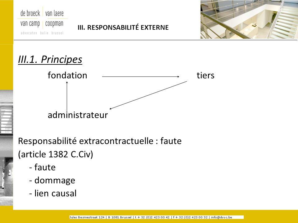 III. RESPONSABILITÉ EXTERNE III.1. Principes fondationtiers administrateur Responsabilité extracontractuelle : faute (article 1382 C.Civ) - faute - do