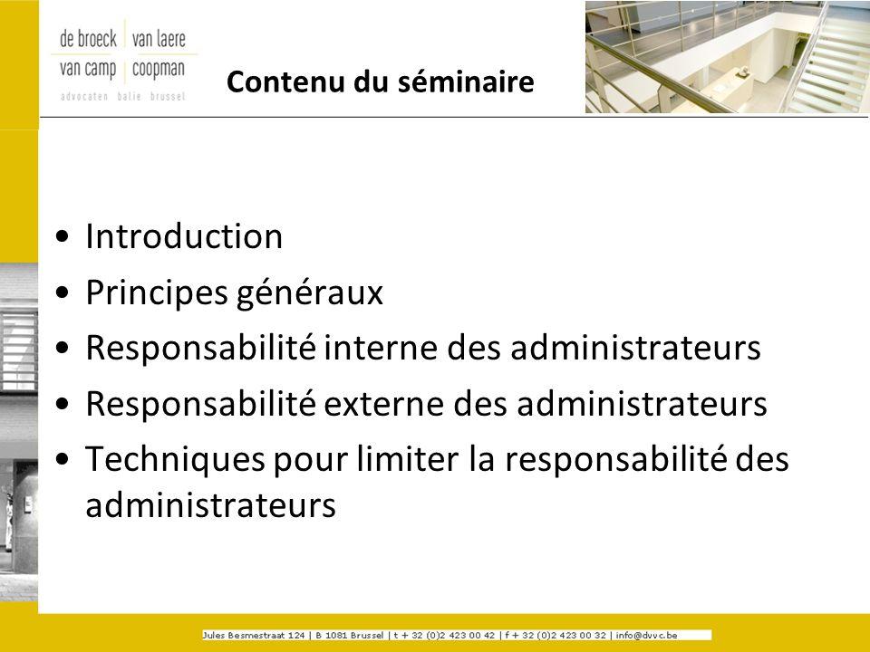 Contenu du séminaire Introduction Principes généraux Responsabilité interne des administrateurs Responsabilité externe des administrateurs Techniques