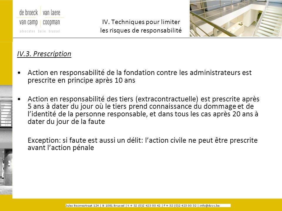 IV. Techniques pour limiter les risques de responsabilité IV.3. Prescription Action en responsabilité de la fondation contre les administrateurs est p