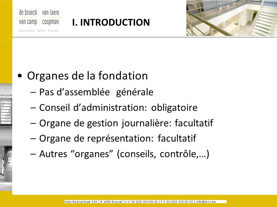 I. INTRODUCTION Organes de la fondation –Pas dassemblée générale –Conseil dadministration: obligatoire –Organe de gestion journalière: facultatif –Org