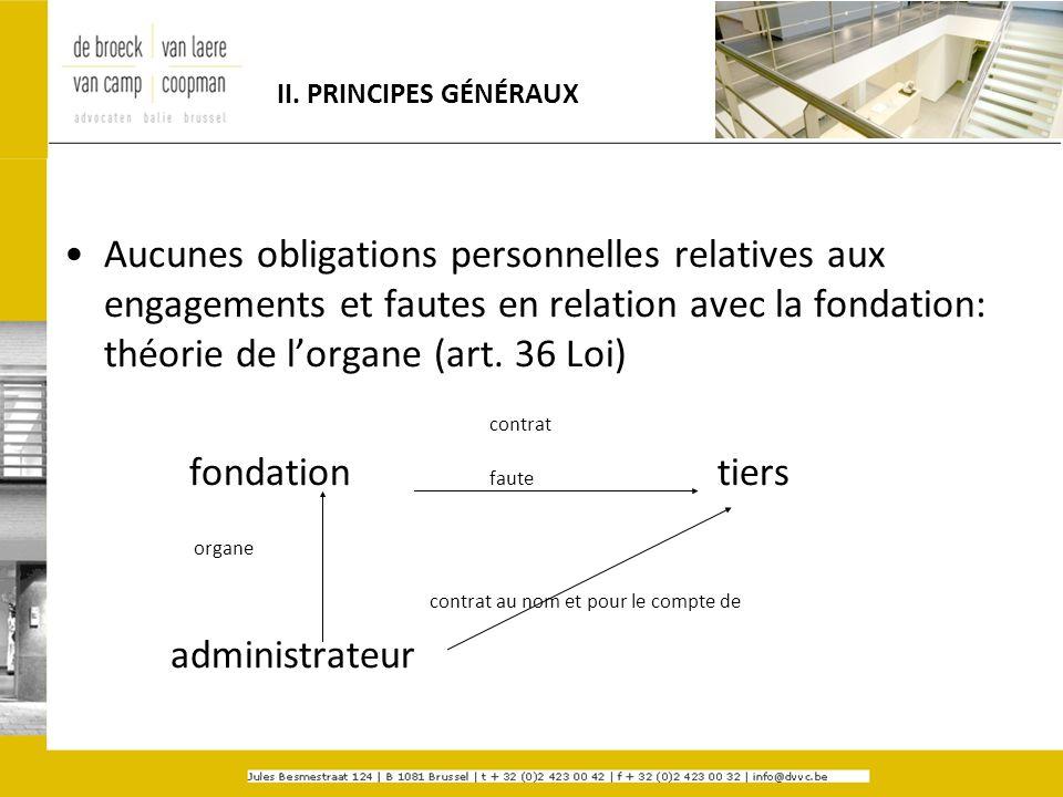 II. PRINCIPES GÉNÉRAUX Aucunes obligations personnelles relatives aux engagements et fautes en relation avec la fondation: théorie de lorgane (art. 36