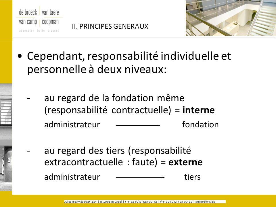 II. PRINCIPES GENERAUX Cependant, responsabilité individuelle et personnelle à deux niveaux: - au regard de la fondation même (responsabilité contract