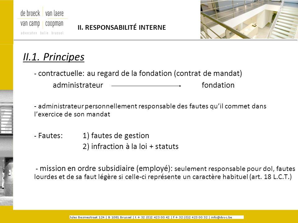 II. RESPONSABILITÉ INTERNE II.1. Principes - contractuelle: au regard de la fondation (contrat de mandat) administrateurfondation - administrateur per