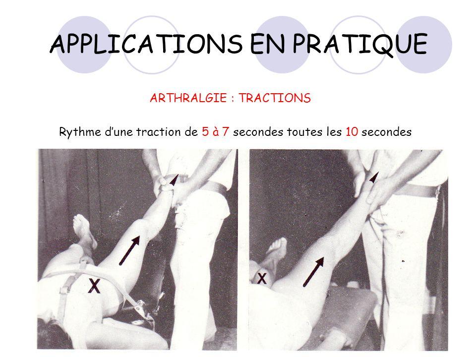 APPLICATIONS EN PRATIQUE ARTHRALGIE : TRACTIONS Rythme dune traction de 5 à 7 secondes toutes les 10 secondes