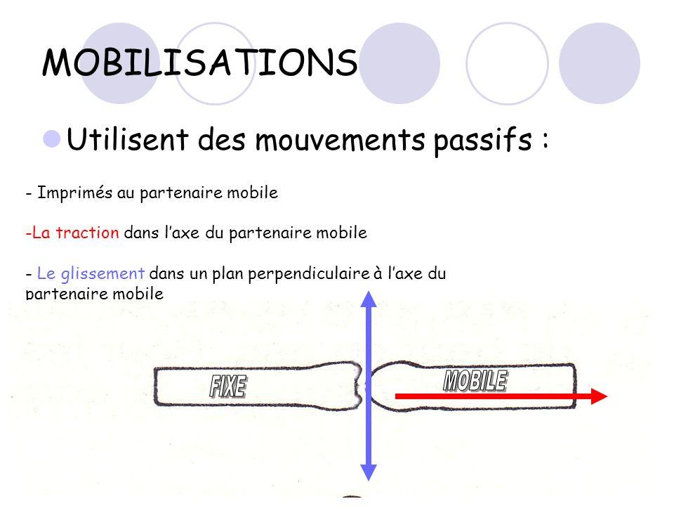MOBILISATIONS Utilisent des mouvements passifs : - Imprimés au partenaire mobile -La traction dans laxe du partenaire mobile - Le glissement dans un p