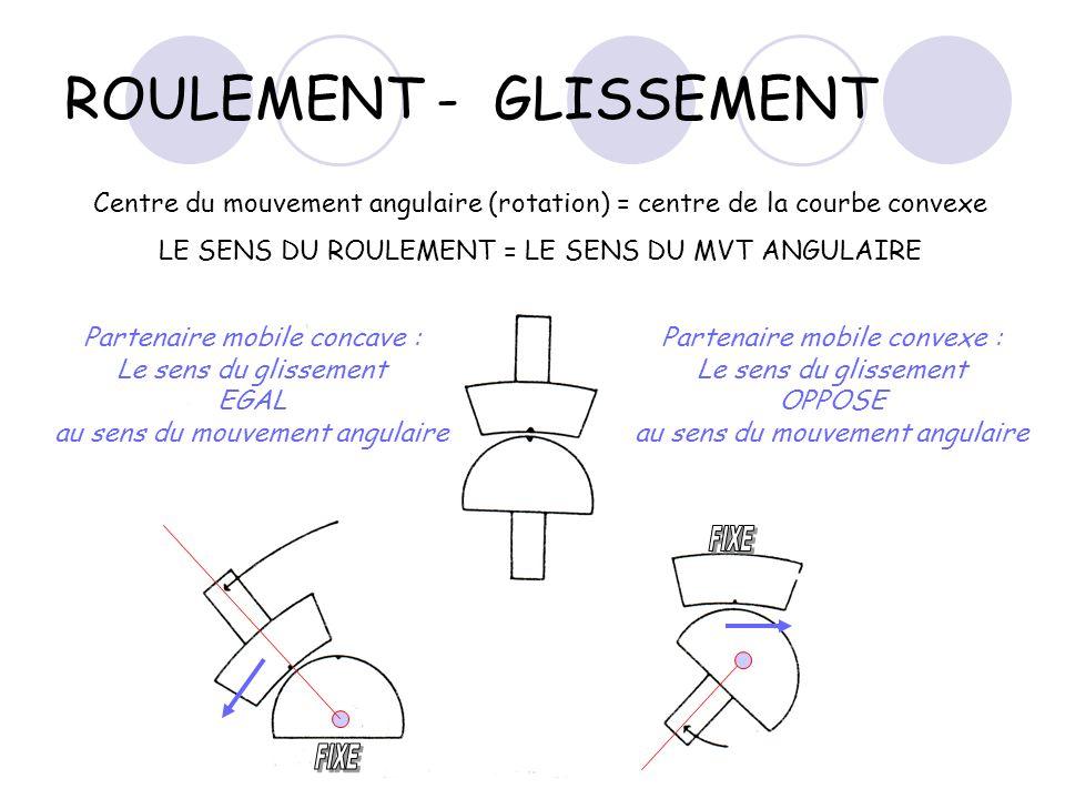 ROULEMENT - GLISSEMENT Centre du mouvement angulaire (rotation) = centre de la courbe convexe LE SENS DU ROULEMENT = LE SENS DU MVT ANGULAIRE Partenai