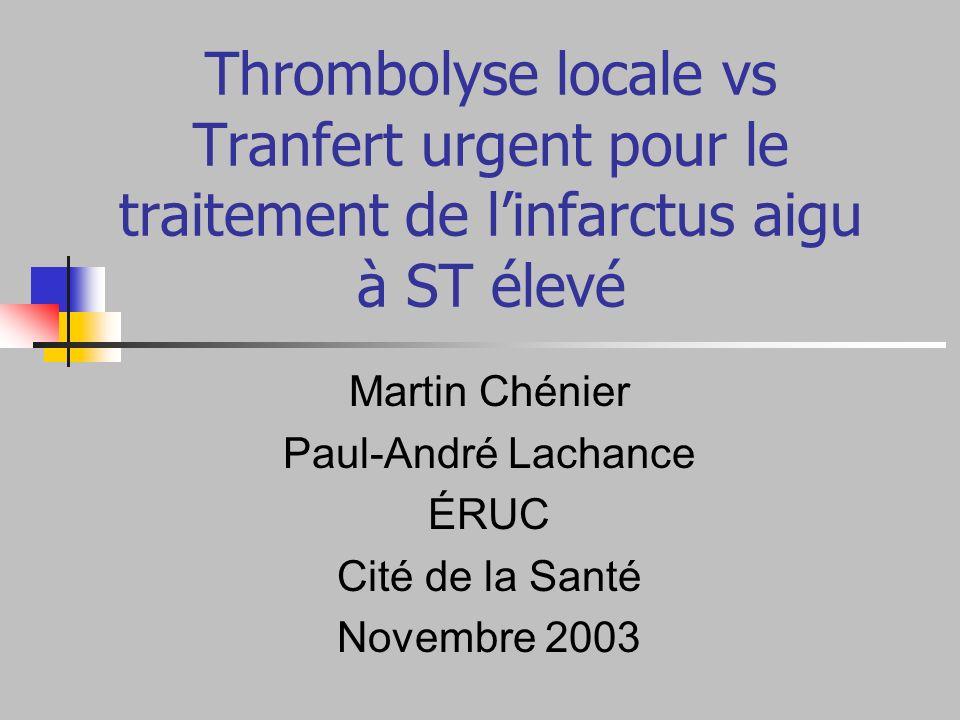 Thrombolyse locale vs Tranfert urgent pour le traitement de linfarctus aigu à ST élevé Martin Chénier Paul-André Lachance ÉRUC Cité de la Santé Novemb