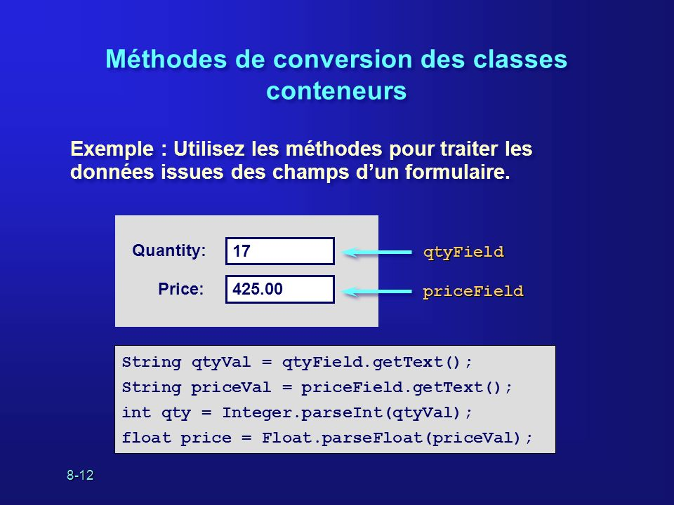 8-12 Méthodes de conversion des classes conteneurs String qtyVal = qtyField.getText(); String priceVal = priceField.getText(); int qty = Integer.parse