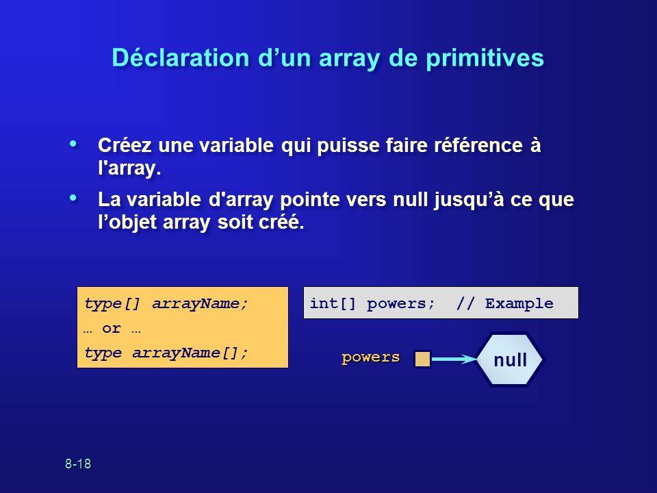 8-18 Déclaration dun array de primitives Créez une variable qui puisse faire référence à l'array. La variable d'array pointe vers null jusquà ce que l