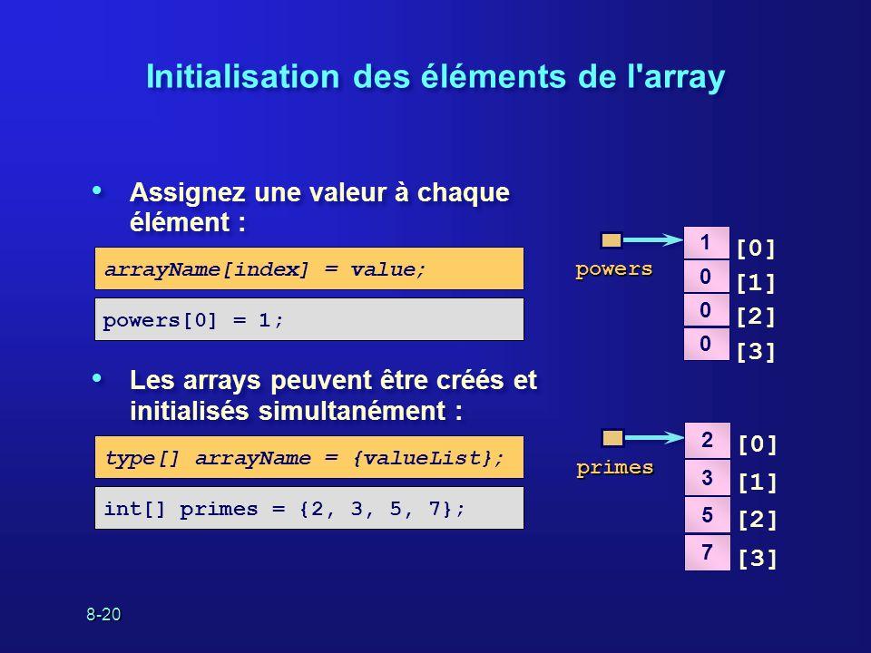 8-20 Initialisation des éléments de l'array Assignez une valeur à chaque élément : Les arrays peuvent être créés et initialisés simultanément : Assign