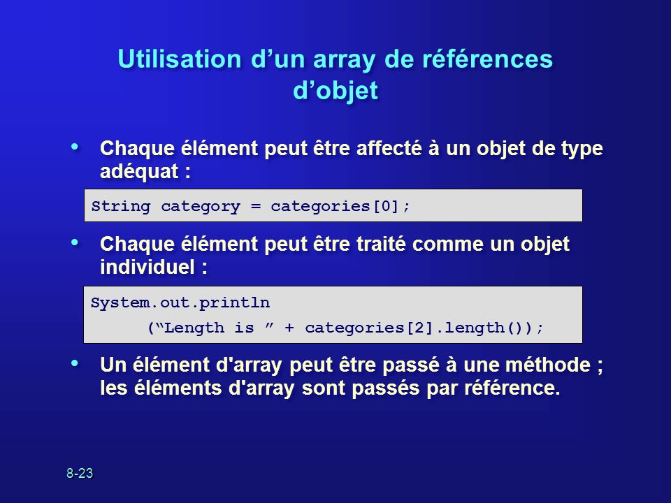 8-23 Utilisation dun array de références dobjet Chaque élément peut être affecté à un objet de type adéquat : Chaque élément peut être traité comme un