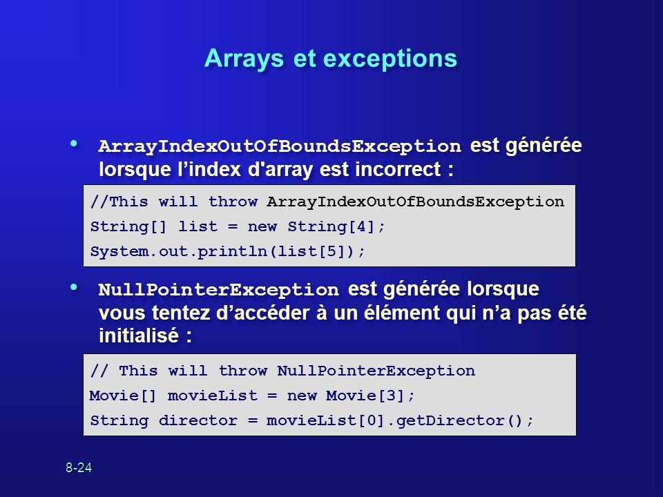 8-24 Arrays et exceptions ArrayIndexOutOfBoundsException est générée lorsque lindex d'array est incorrect : NullPointerException est générée lorsque v