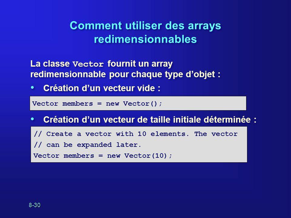 8-30 Comment utiliser des arrays redimensionnables La classe Vector fournit un array redimensionnable pour chaque type dobjet : Création dun vecteur v