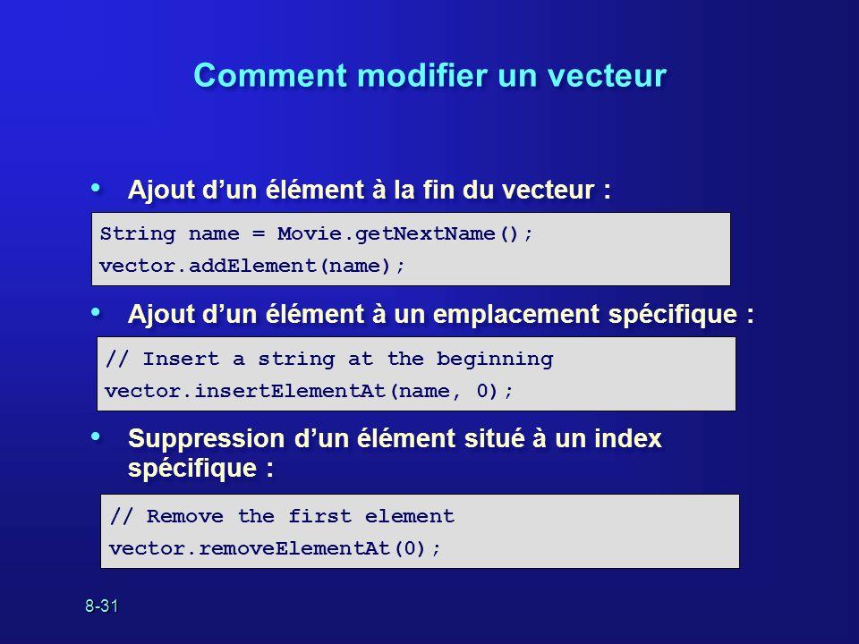 8-31 Comment modifier un vecteur Ajout dun élément à la fin du vecteur : Ajout dun élément à un emplacement spécifique : Suppression dun élément situé