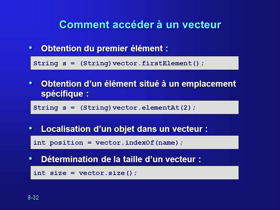 8-32 Comment accéder à un vecteur Obtention du premier élément : Obtention dun élément situé à un emplacement spécifique : Localisation dun objet dans