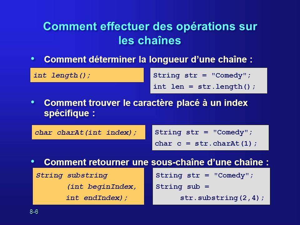 8-6 Comment effectuer des opérations sur les chaînes Comment déterminer la longueur dune chaîne : Comment trouver le caractère placé à un index spécif