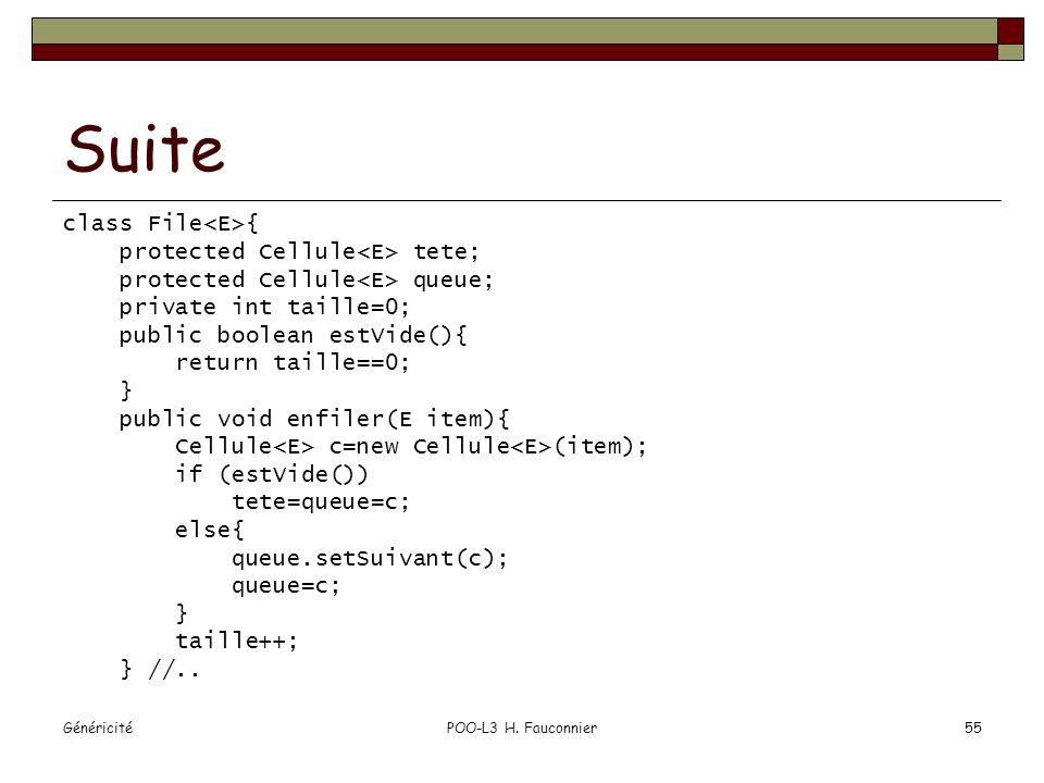 GénéricitéPOO-L3 H. Fauconnier55 Suite class File { protected Cellule tete; protected Cellule queue; private int taille=0; public boolean estVide(){ r