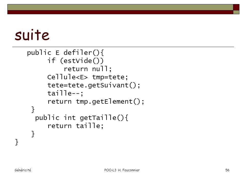 GénéricitéPOO-L3 H. Fauconnier56 suite public E defiler(){ if (estVide()) return null; Cellule tmp=tete; tete=tete.getSuivant(); taille--; return tmp.