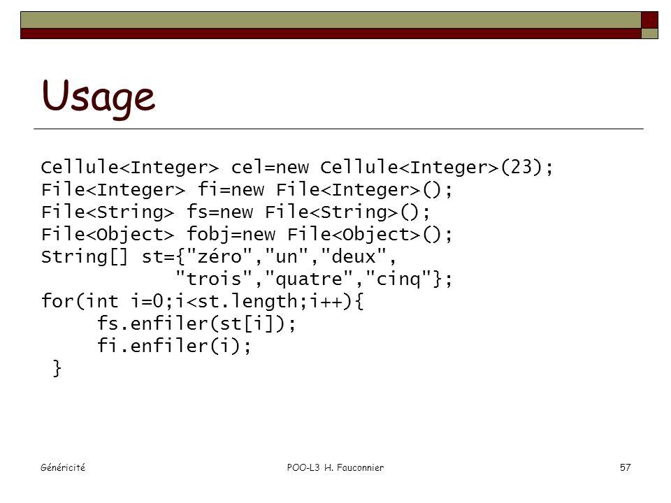 GénéricitéPOO-L3 H. Fauconnier57 Usage Cellule cel=new Cellule (23); File fi=new File (); File fs=new File (); File fobj=new File (); String[] st={
