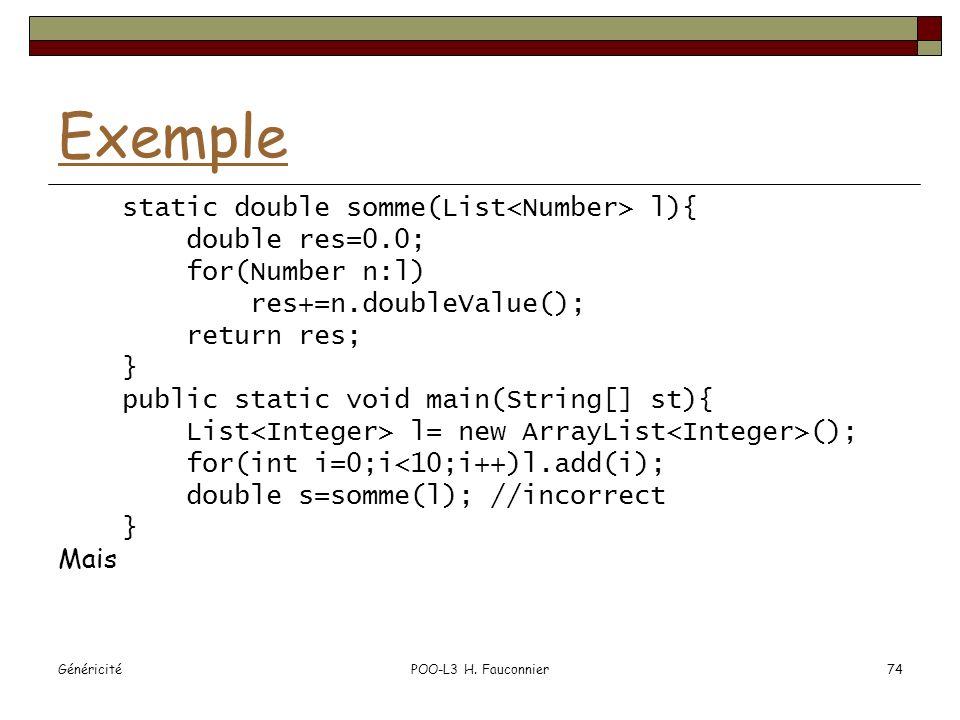GénéricitéPOO-L3 H. Fauconnier74 Exemple static double somme(List l){ double res=0.0; for(Number n:l) res+=n.doubleValue(); return res; } public stati