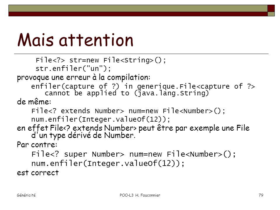 GénéricitéPOO-L3 H. Fauconnier79 Mais attention File str=new File (); str.enfiler(