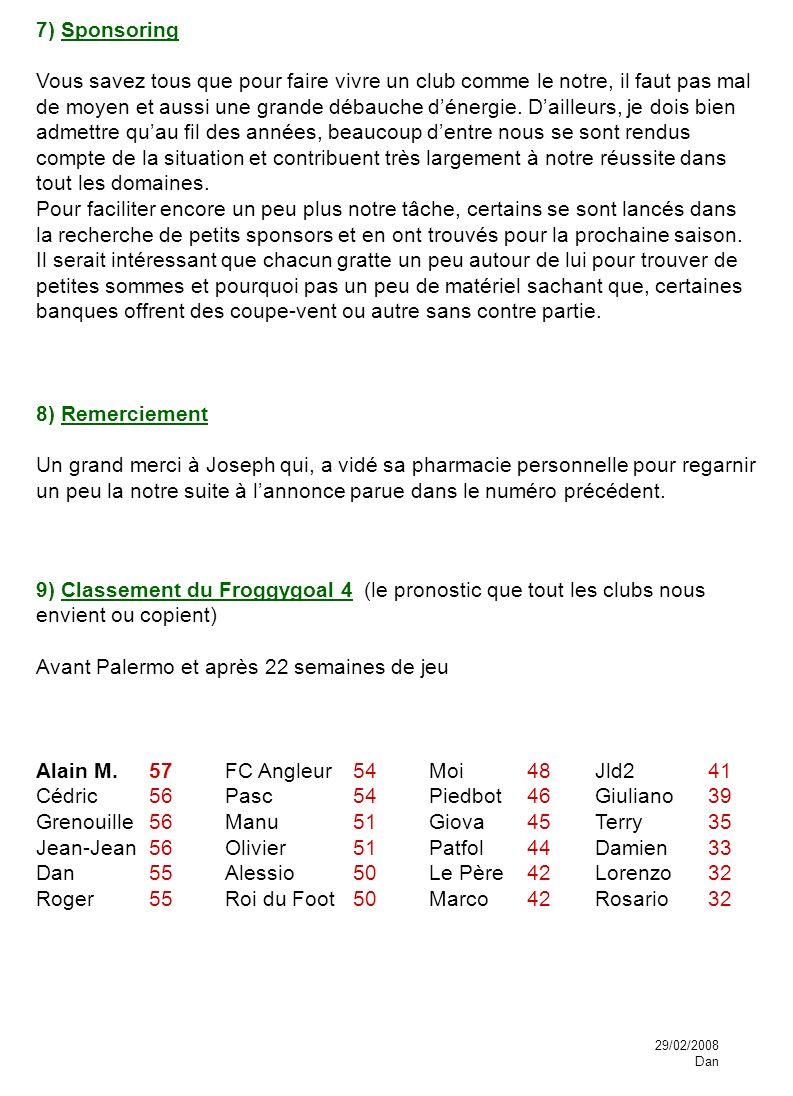 9) Classement du Froggygoal 4 (le pronostic que tout les clubs nous envient ou copient) Avant Palermo et après 22 semaines de jeu Alain M. Cédric Gren